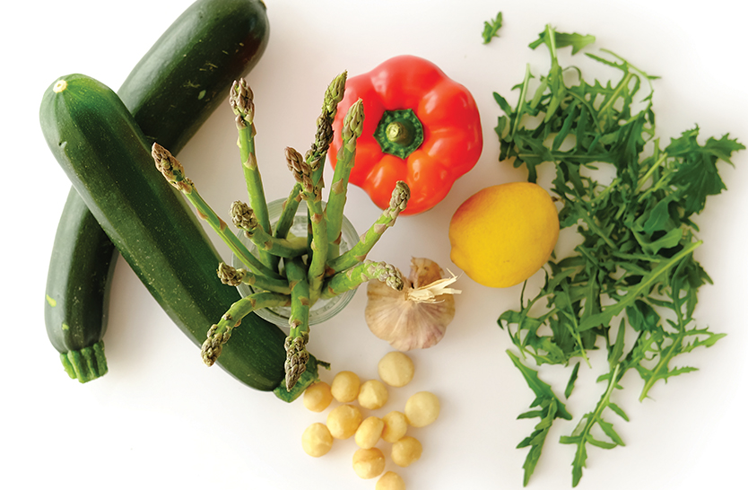 Fresh zucchini pasta with asparagus & rocket sauce