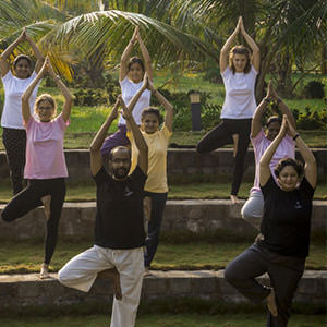 Heartfulness education trust students are practicing yogasans