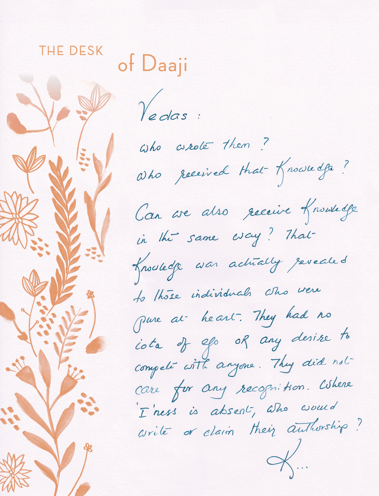 Vedas – The desk of Daaji